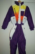 Vintage 80s KASTLE Neon Ski Suit Size 40 One Piece Snow Skiwear Snowsuit