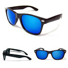 Classic Wayfarer Sunglasses - Blue Mirror Lens / Matte Black Frame - Ex Quality
