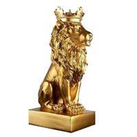 1X(Crown Lion Statue Home Office Bar Lion Faith Resin Sculpture Model Craft G1W7