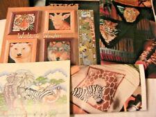Lot of 9 WILDLIFE WONDERS~wolf-zebra-rhino-bear+ cross stitch graphs *RARE* 80's
