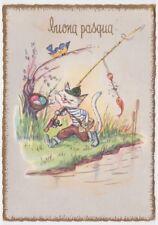 Cartolina fg vintage Pasqua gatto bianco pescatore fiume canna da pesca uova