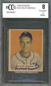 Ralph Branca Rookie Card 1949 Bowman #194 Dodgers (Ex Or Better) BGS BCCG 8