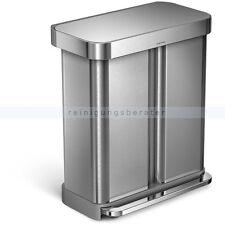 Treteimer Abfalleimer Müllbehälter Simplehuman mit Doppelfach 58 L, Edelstahl