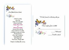 100 Personalized Custom Spring Butterfly Bridal Wedding Cards Invitations Set