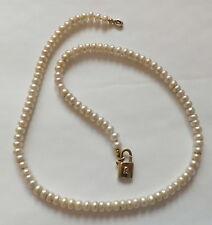 Gold Pearl Neckace Padlock Pendant