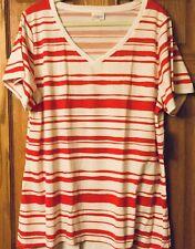 LuLaRoe Size 3XL 3X  XXXL Americana 2019 Red Stripes White Christy T Shirt NWT