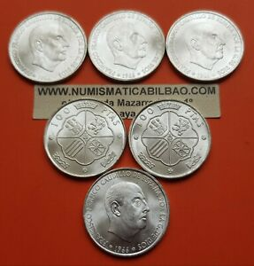 6 monedas x 100 PESETAS 1966 * 19 / 67 PLATA SC FRANCO de cartucho FNMT 1967 UNC