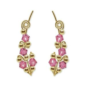Ear Climbers Ear Crawlers Sweeps Earrings Gold with Swarovski Rose Crystals #244