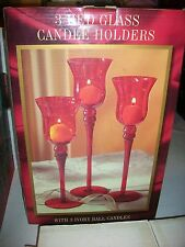 Candle Holder 3 Piece Set Red