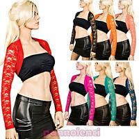 Bolero coprispalle donna pizzo floreale bordo jersey ballo colori moda AS-9304