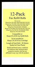 12-pk UX-3CR Fax Refill Rolls for Sharp UX-330L UX-335L UX-340 UX-340L UX-340LM
