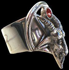 925 Sterling Silver Handmade Ring Baphomet Ruby All Sizes Lucifer Goat Ram