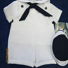 Johnnie Lane boys sailor 3pc. set size 6mo.Dark navy, w/white, new w/tags