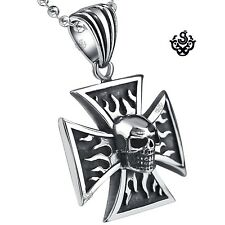 Silver Celtic cross skull pendant stainless steel necklace soft gothic