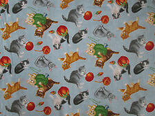CATS WITH YARN KITTIES TOYS BLUE COTTON FABRIC FQ
