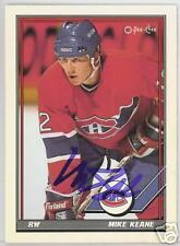 MIKE KEANE  Montreal Canadiens 1992 O P C  AUTOGRAPHED HOCKEY CARD JSA