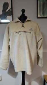 Vintage Adidas Men's Quarter Zip Fleece Jumper - White - UK 46/48 (XXL-XXXL)