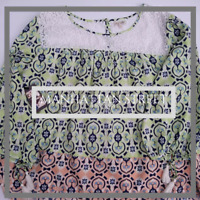 Womens NWOT Red Camel Tunic Long Sleeve Blouse Size 3X Lace Blue and Green 2066
