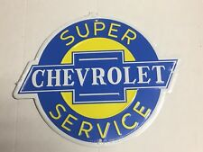 """Super Chevrolet Service Round Metal Tin Sign 12""""  Garage Man Cave Embossed Chevy"""