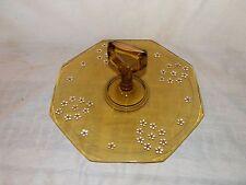 Vintage,Depression Glass,Amber,Flowered,Center Handle,Octagon,Sandwich Tray