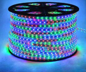 RGB LED Strip 220V-240V Waterproof 5050 SMD Lights Rope+ Free AC Adopter