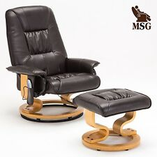 Leisure Massage Real Leather Recliner Chair Swivel Armchair w/Ottoman in Brown