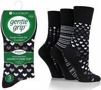 3 Ladies Gentle Grip® Bamboo Blend Non Elastic Socks UK 4-8 / Monochrome