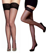 Ladies Thigh High Fish Net & Fencenet Lace Stockings Womens Hold UPS Black Fishnet 2