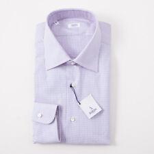 NWT $350 BARBA NAPOLI Pink and Blue Woven Dot Pattern Dress Shirt 17 x 37