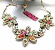 Betsey Johnson   Rhinestone Fashion flowers retro necklace