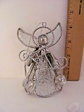 Leaded Glass Angel Ornament Holding Harp with Crystal Ball Accents Christmas