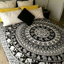 Hippie Tapestry Indian Elephant Mandala Bedspread Twin Black White Wall Hanging