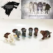 6PCS Game of Thrones Winterfell Stark Direwolf Army Animals Building Blocks Toys