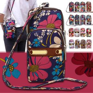 Womens 3-Layers Zipper Wallet Purse Waterproof Nylon Armband Handbag Phone Bag