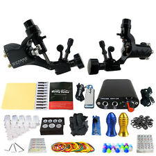 Professional Rotary Tattoo Machine Kit 2 Motor Gun Power Supply Needle Grips Tip