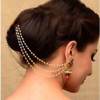 Indian Wedding Bollywood Partywear  Earrings Pearl Kaan Chain Jewelry Diwali