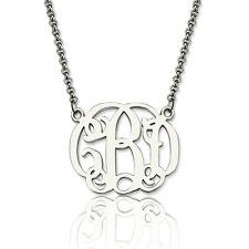 Personalized Initial Name Necklace Sterling Silver Unique Monogram Necklace Gift