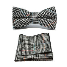 Black & White Dogtooth Check Tweed Bow Tie & Pocket Square / Handkerchief Set
