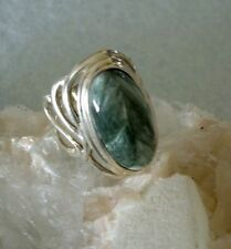 Ring mit Serafinit (Klinochlor), 925er Silber, Gr 16,5 - Seraphinit -