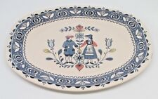 "Johnson Brothers Old Granite Hearts & Flowers 14"" Oval Platter Dark Blue Mark"