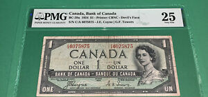 PMG Canada, Bank of Canada $1 Banknote 1954 Devil's Face vf25