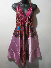 Scarf Dress Fits S M L XL Burgundy Dashiki Print Backless Halter Empire NWT 01F