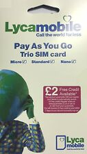 2 x lycamobile trio pay as you go sim card -- official pack BUY 1 GET 1 FREE