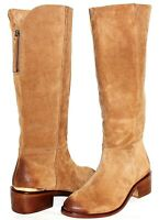 ✿ NAUGHTY MONKEY Gold-Trim Tan Premium Suede Leather Zip Boots 8.5 M NEW! L@@K!