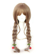 Cute Girl Light Brown Long Synthetic Braided Lolita Hair Wigs