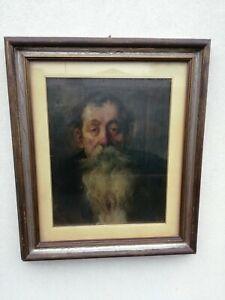 Orlow Öl Auf Leinwand Alt Mit Die Bart 53x43cm Porträt 1952 Galerie Castor