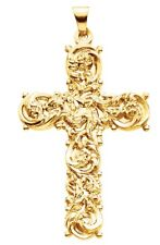 New Beautiful Solid 14k Yellow Gold Cross Christian Religious Pendant