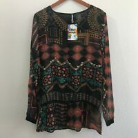 NWT Womens Large L Desigual Long Sleeve Blouse Top Shirt Multicolor Cinch