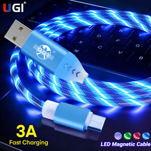 3A LED Glow Micro USB Type C Charger Cable Fast Charge Lead Data Cord for iPhone
