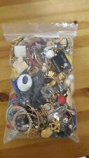 Job Lot Bag of Costume Earrings (Pierced and Clip) and Scarf Clips 1208g